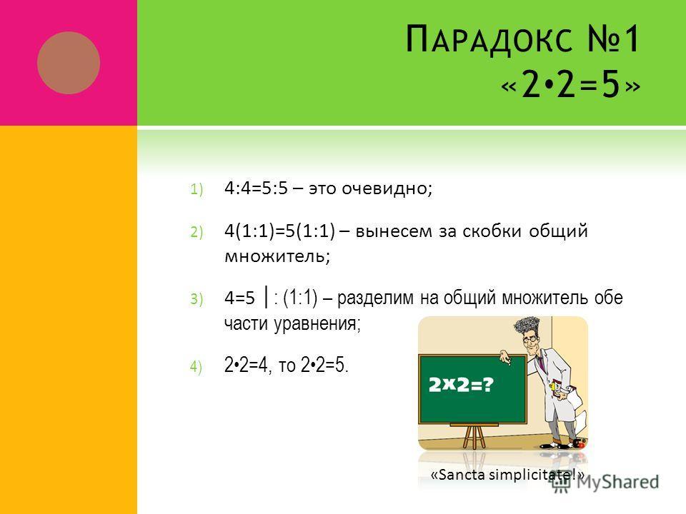 П АРАДОКС 1 «2 2=5» 1) 4:4=5:5 – это очевидно; 2) 4(1:1)=5(1:1) – вынесем за скобки общий множитель; 3) 4=5: (1:1) – разделим на общий множитель обе части уравнения; 4) 22=4, то 22=5. «Sancta simplicitate!»