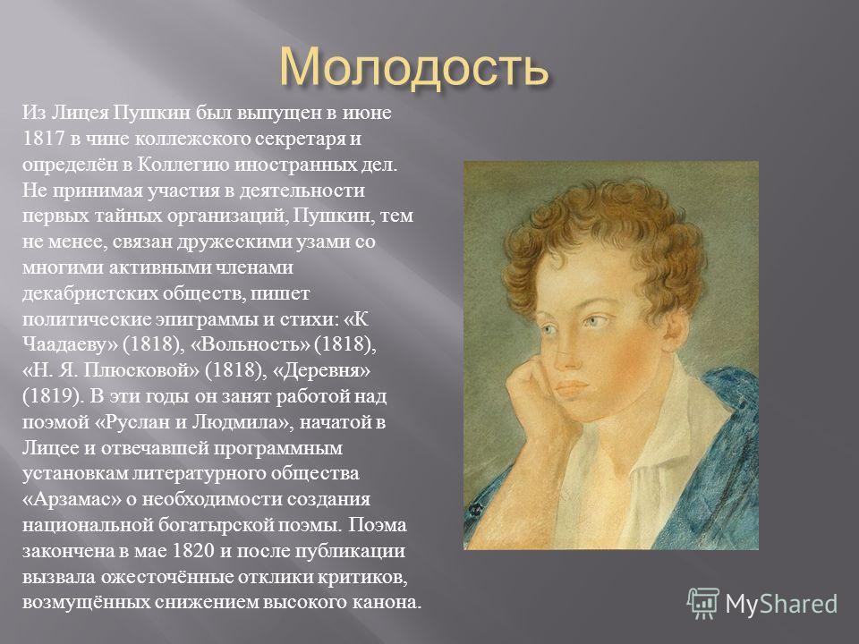 Молодость Молодость Из Лицея Пушкин был выпущен в июне 1817 в чине коллежского секретаря и определён в Коллегию иностранных дел. Не принимая участия в деятельности первых тайных организаций, Пушкин, тем не менее, связан дружескими узами со многими ак