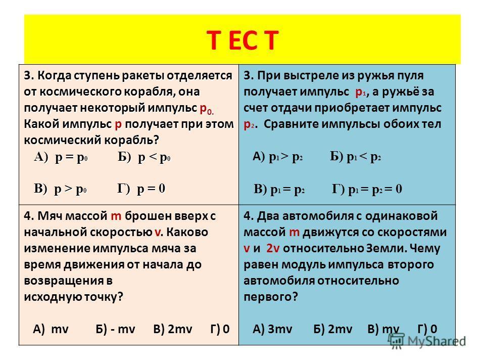 Т ЕС Т Когда ступень ракеты отделяется от космического корабля, она получает некоторый импульс p 0. Какой импульс p получает при этом космический корабль? 3. Когда ступень ракеты отделяется от космического корабля, она получает некоторый импульс p 0.