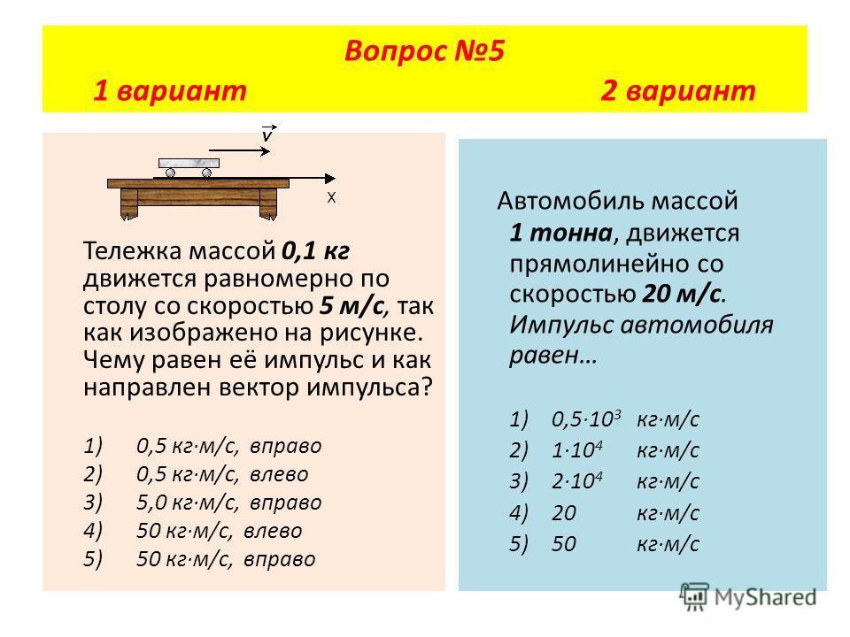 Тележка массой 0,1 кг движется равномерно по столу со скоростью 5 м/с, так как изображено на рисунке. Чему равен её импульс и как направлен вектор импульса? 1) 0,5 кг·м/с, вправо 2) 0,5 кг·м/с, влево 3) 5,0 кг·м/с, вправо 4) 50 кг·м/с, влево 5) 50 кг
