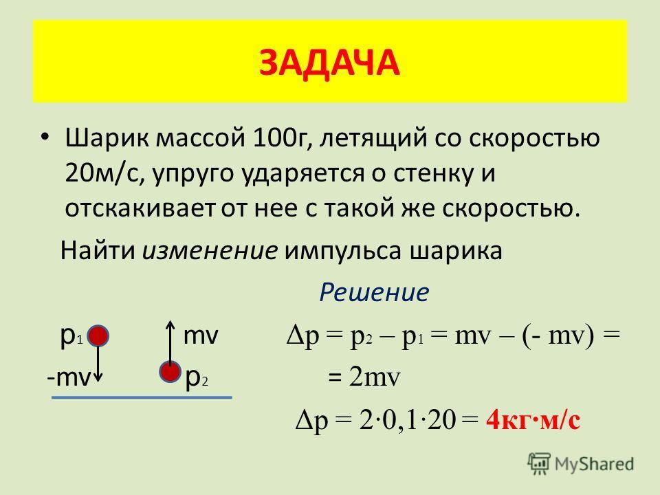 ЗАДАЧА Шарик массой 100г, летящий со скоростью 20м/с, упруго ударяется о стенку и отскакивает от нее с такой же скоростью. Найти изменение импульса шарика Решение p 1 mv Δp = p 2 – p 1 = mv – (- mv) = -mv p 2 = 2mv Δp = 2·0,1·20 = 4кг·м/с