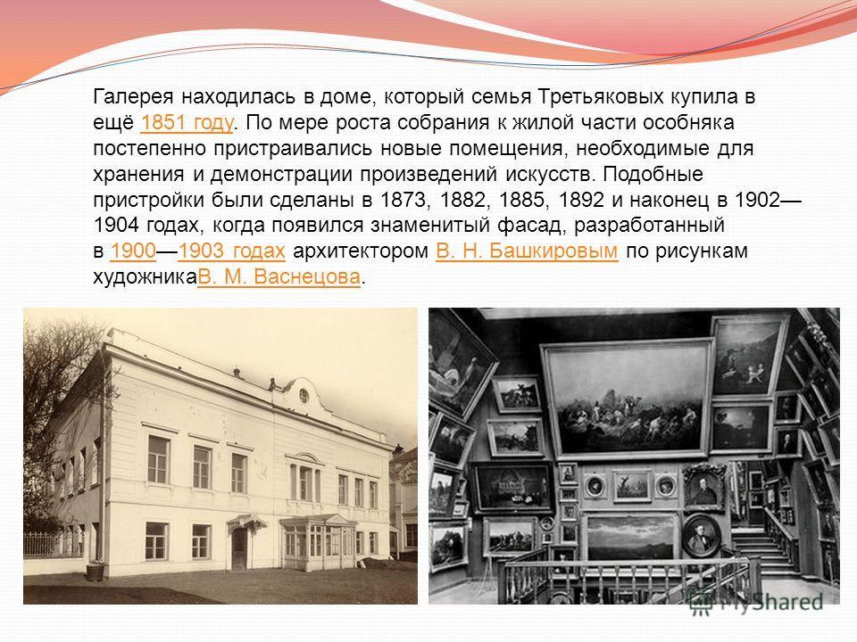 Галерея находилась в доме, который семья Третьяковых купила в ещё 1851 году. По мере роста собрания к жилой части особняка постепенно пристраивались новые помещения, необходимые для хранения и демонстрации произведений искусств. Подобные пристройки б