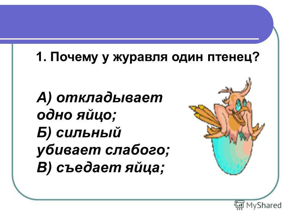 1. Почему у журавля один птенец? А) откладывает одно яйцо; Б) сильный убивает слабого; В) съедает яйца;