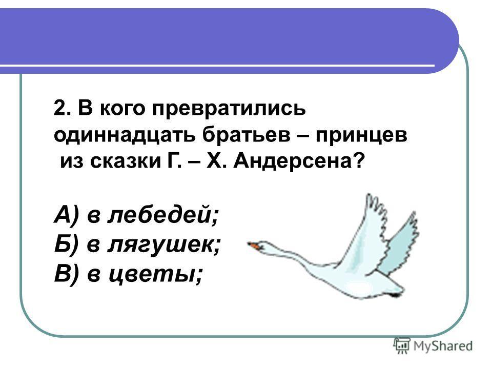 2. В кого превратились одиннадцать братьев – принцев из сказки Г. – Х. Андерсена? А) в лебедей; Б) в лягушек; В) в цветы;