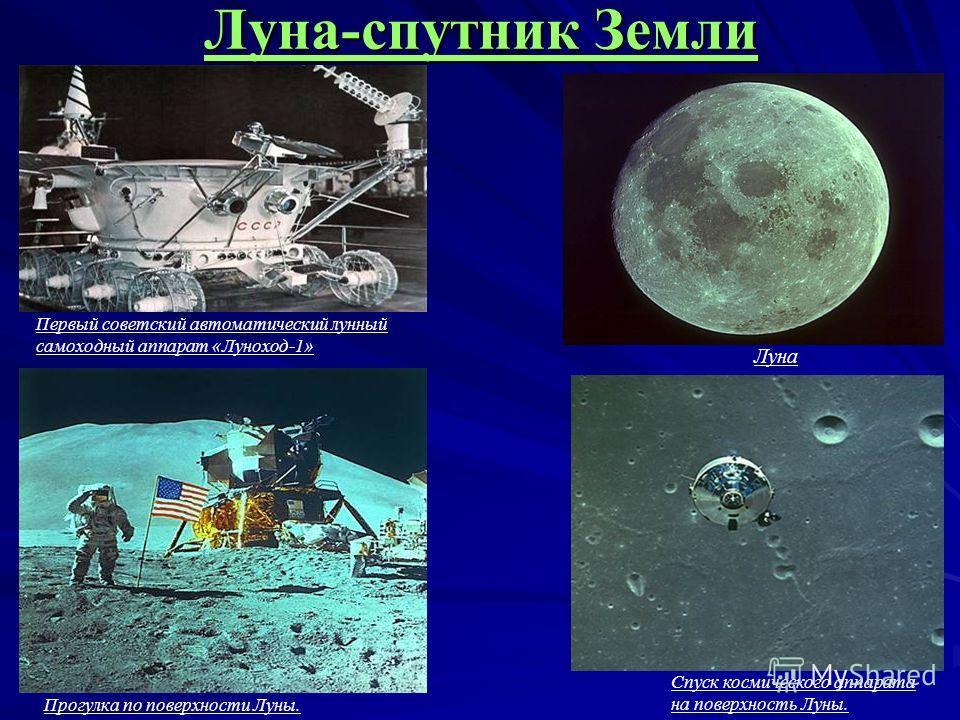 Луна-спутник Земли Спуск космического аппарата на поверхность Луны. Прогулка по поверхности Луны. Первый советский автоматический лунный самоходный аппарат «Луноход-1» Луна
