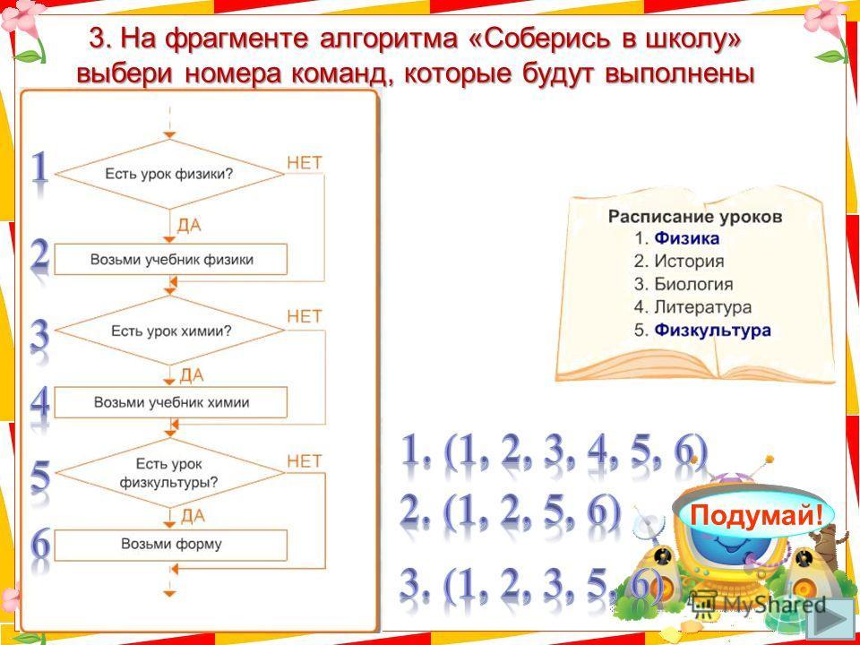 3. На фрагменте алгоритма «Соберись в школу» выбери номера команд, которые будут выполнены Молодец! Подумай!
