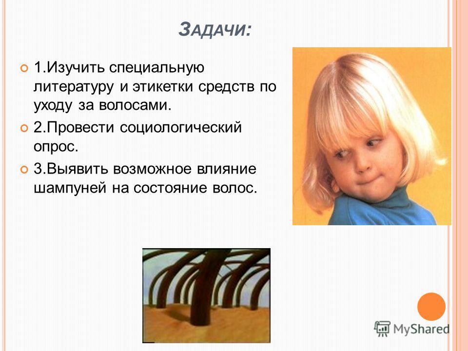 З АДАЧИ : 1.Изучить специальную литературу и этикетки средств по уходу за волосами. 2.Провести социологический опрос. 3.Выявить возможное влияние шампуней на состояние волос.