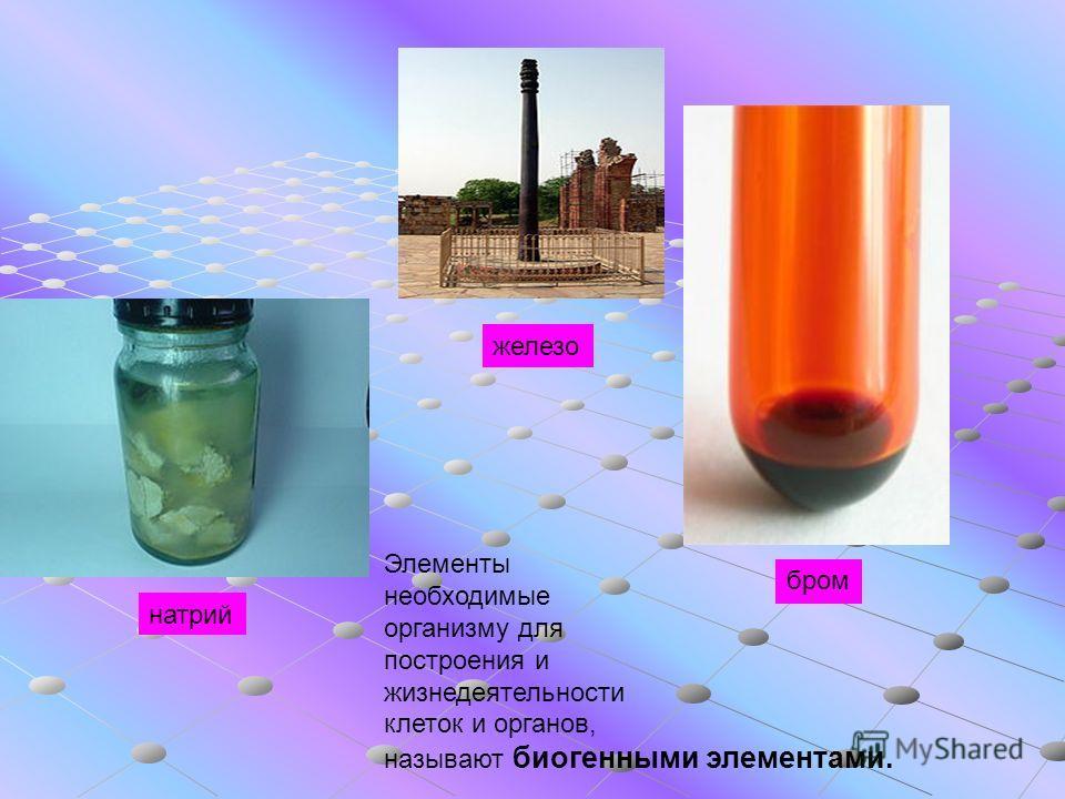 бром железо натрий Элементы необходимые организму для построения и жизнедеятельности клеток и органов, называют биогенными элементами.