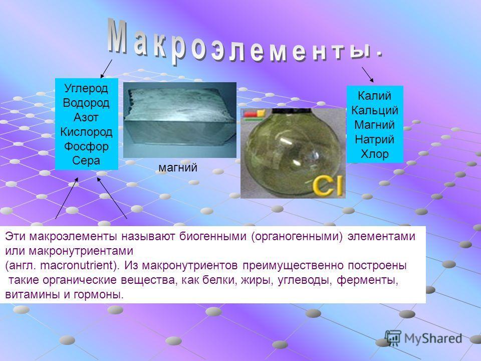 Углерод Водород Азот Кислород Фосфор Сера Калий Кальций Магний Натрий Хлор Эти макроэлементы называют биогенными (органогенными) элементами или макронутриентами (англ. macronutrient). Из макронутриентов преимущественно построены такие органические ве
