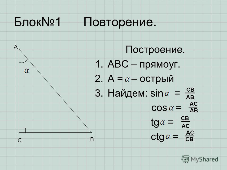 Блок1 Повторение. Построение. 1.ABC – прямоуг. 2.А = – острый 3.Найдем: sin = cos = tg = ctg = А С В CB AB AC AB AC CB AC CB