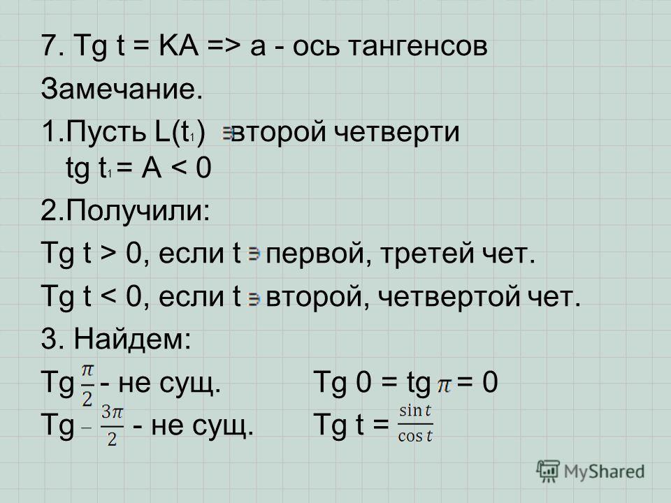 7. Tg t = KA => a - ось тангенсов Замечание. 1.Пусть L(t 1 ) второй четверти tg t 1 = A < 0 2.Получили: Tg t > 0, если t первой, третей чет. Tg t < 0, если t второй, четвертой чет. 3. Найдем: Tg - не сущ. Tg 0 = tg = 0 Tg - не сущ. Tg t =