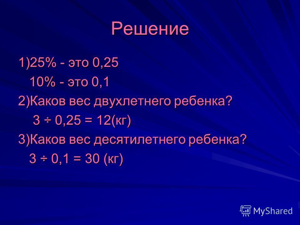Решение 1)25% - это 0,25 10% - это 0,1 10% - это 0,1 2)Каков вес двухлетнего ребенка? 3 ÷ 0,25 = 12(кг) 3 ÷ 0,25 = 12(кг) 3)Каков вес десятилетнего ребенка? 3 ÷ 0,1 = 30 (кг) 3 ÷ 0,1 = 30 (кг)