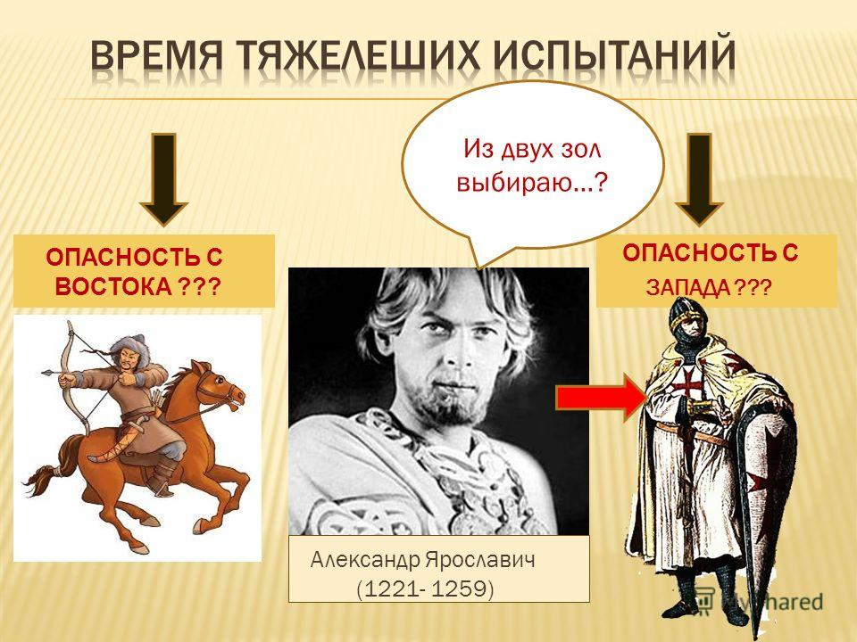 ОПАСНОСТЬ С ВОСТОКА ??? ОПАСНОСТЬ С ЗАПАДА ??? Из двух зол выбираю…? Александр Ярославич (1221- 1259)