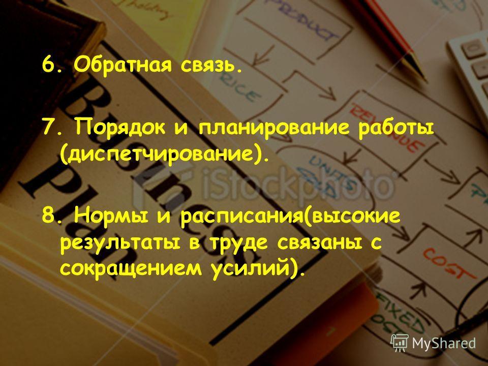 6. Обратная связь. 7. Порядок и планирование работы (диспетчирование). 8. Нормы и расписания(высокие результаты в труде связаны с сокращением усилий).