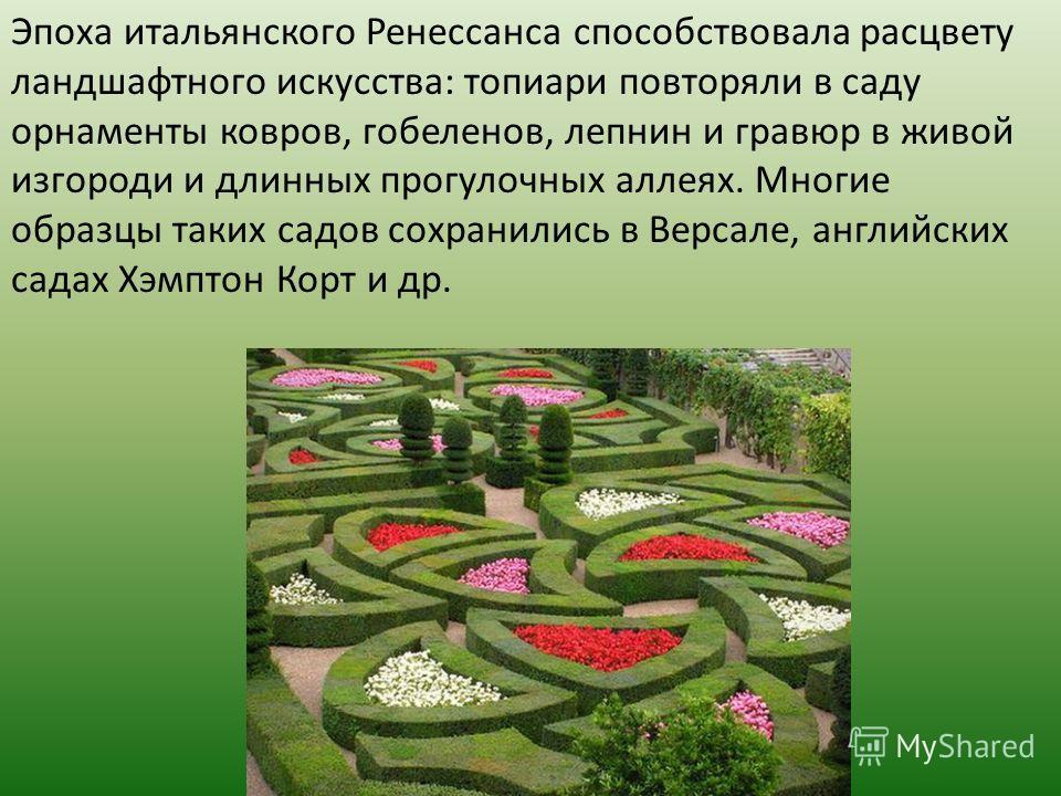 Эпоха итальянского Ренессанса способствовала расцвету ландшафтного искусства: топиари повторяли в саду орнаменты ковров, гобеленов, лепнин и гравюр в живой изгороди и длинных прогулочных аллеях. Многие образцы таких садов сохранились в Версале, англи