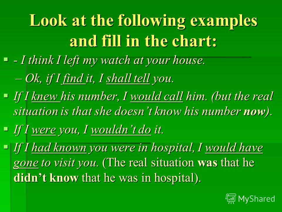 Look at the following examples and fill in the chart: - I think I left my watch at your house. - I think I left my watch at your house. – Ok, if I find it, I shall tell you. – Ok, if I find it, I shall tell you. If I knew his number, I would call him