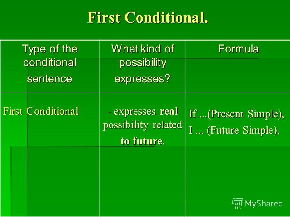 First Conditional. Type of the conditional sentence First Conditional What kind of possibility expresses? - expresses real possibility related to future. Formula If...(Present Simple), I... (Future Simple).