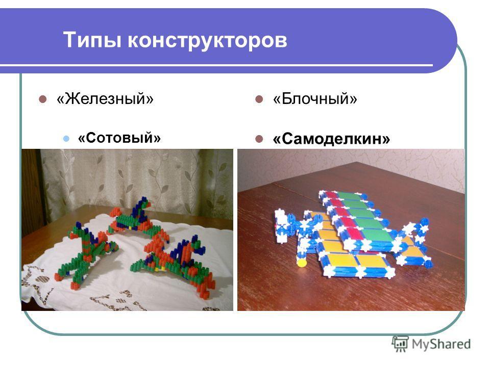 Типы конструкторов «Железный» «Блочный» «Сотовый» «Самоделкин»