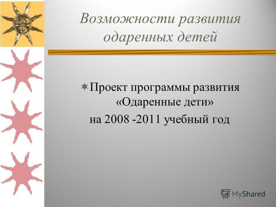 Возможности развития одаренных детей Проект программы развития «Одаренные дети» на 2008 -2011 учебный год
