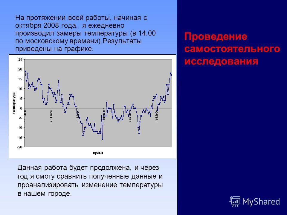 Проведение самостоятельного исследования На протяжении всей работы, начиная с октября 2008 года, я ежедневно производил замеры температуры (в 14.00 по московскому времени).Результаты приведены на графике. Данная работа будет продолжена, и через год я