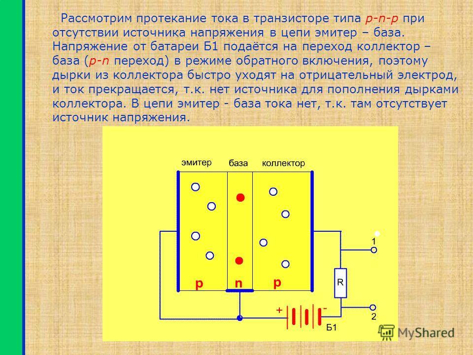 Транзисторы Полупроводниковые приборы, предназначен- ные для усиления электрических сигналов, называются транзисторами. Транзистор состоит из трёх слоёв полупроводника – p-n-p или n-p-n. Он имеет 3 вывода: коллектор, эмитер и базу. Изображение транзи