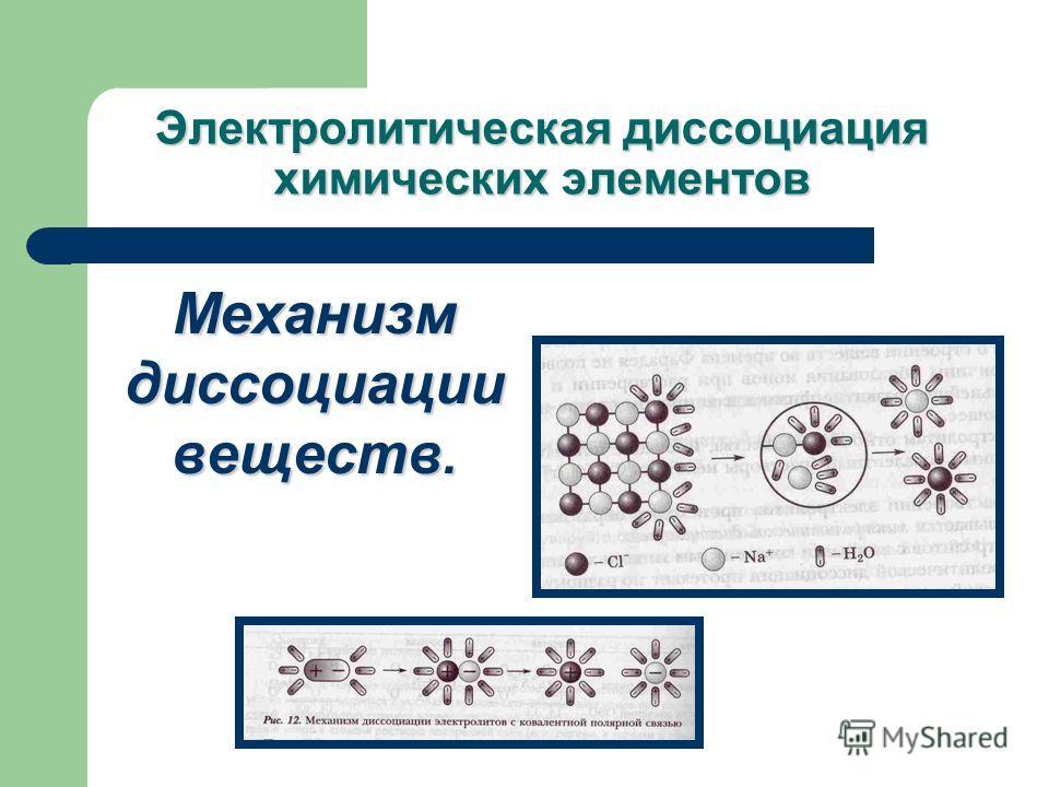 Механизм диссоциации веществ.