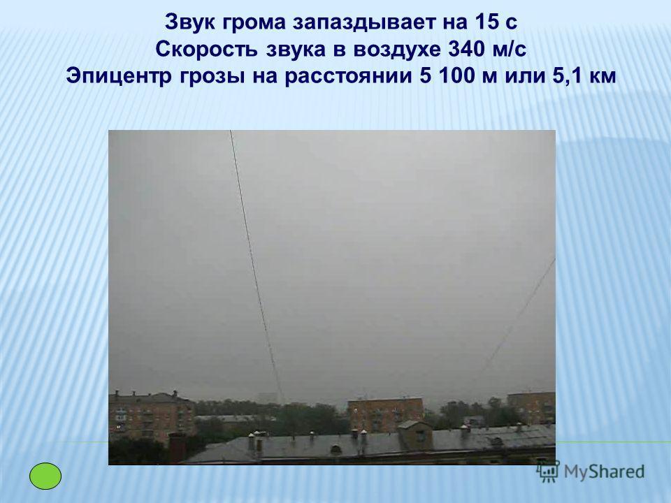 Звук грома запаздывает на 15 с Скорость звука в воздухе 340 м/с Эпицентр грозы на расстоянии 5 100 м или 5,1 км