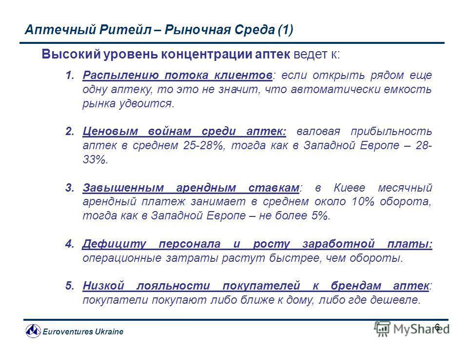 Euroventures Ukraine 6 Аптечный Ритейл – Рыночная Среда (1) Высокий уровень концентрации аптек ведет к: 1.Распылению потока клиентов: если открыть рядом еще одну аптеку, то это не значит, что автоматически емкость рынка удвоится. 2.Ценовым войнам сре
