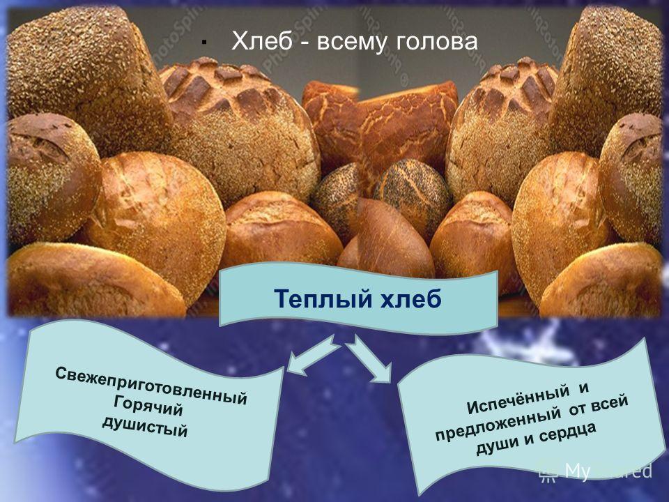 . Теплый хлеб Хлеб - всему голова Испечённый и предложенный от всей души и сердца Свежеприготовленный Горячий душистый
