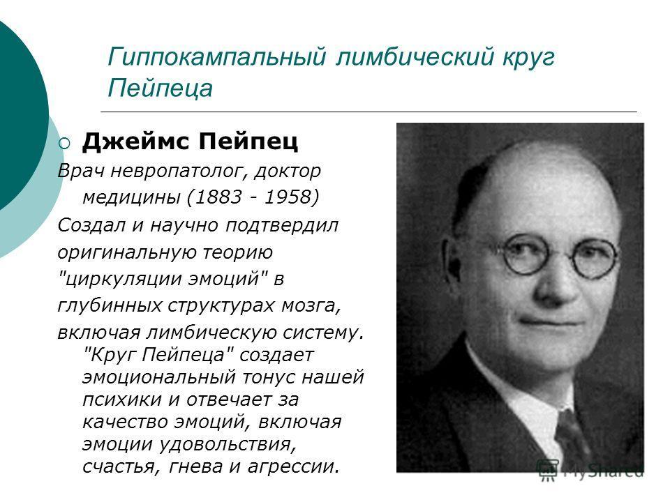 Гиппокампальный лимбический круг Пейпеца Джеймс Пейпец Врач невропатолог, доктор медицины (1883 - 1958) Создал и научно подтвердил оригинальную теорию