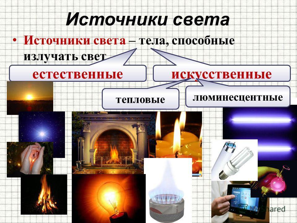 Источники света Источники света – тела, способные излучать свет естественные искусственные тепловые люминесцентные