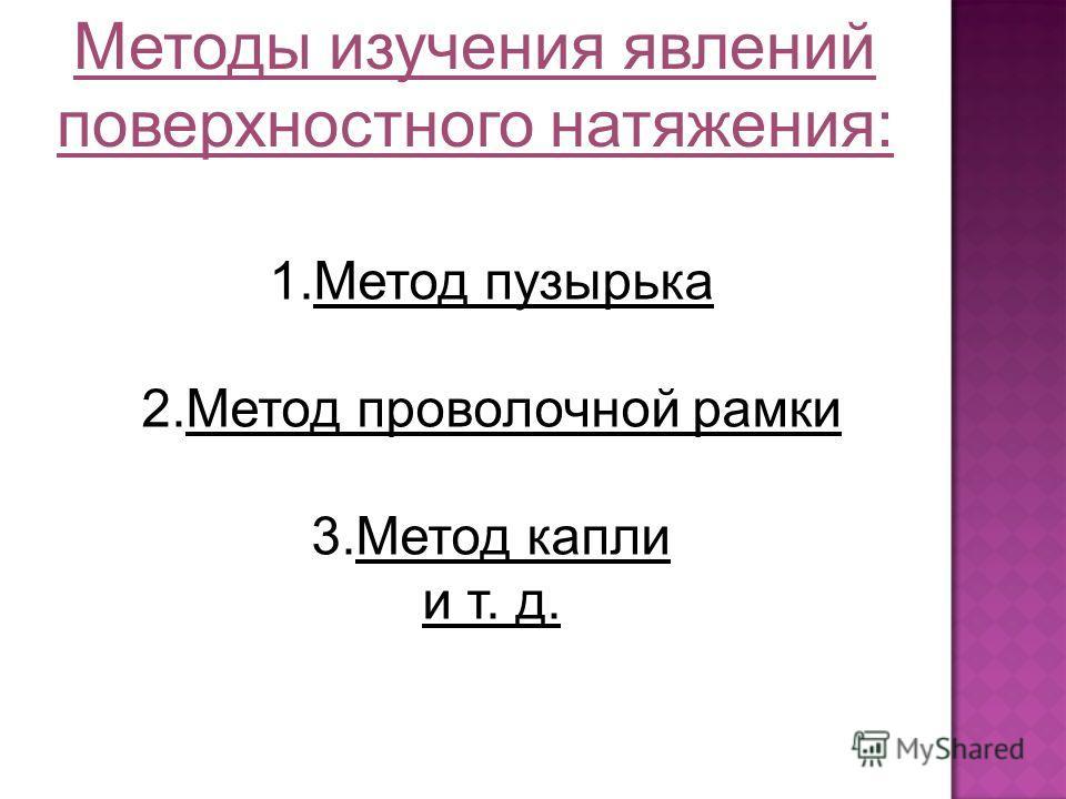 Методы изучения явлений поверхностного натяжения: 1.Метод пузырька 2.Метод проволочной рамки 3.Метод капли и т. д.