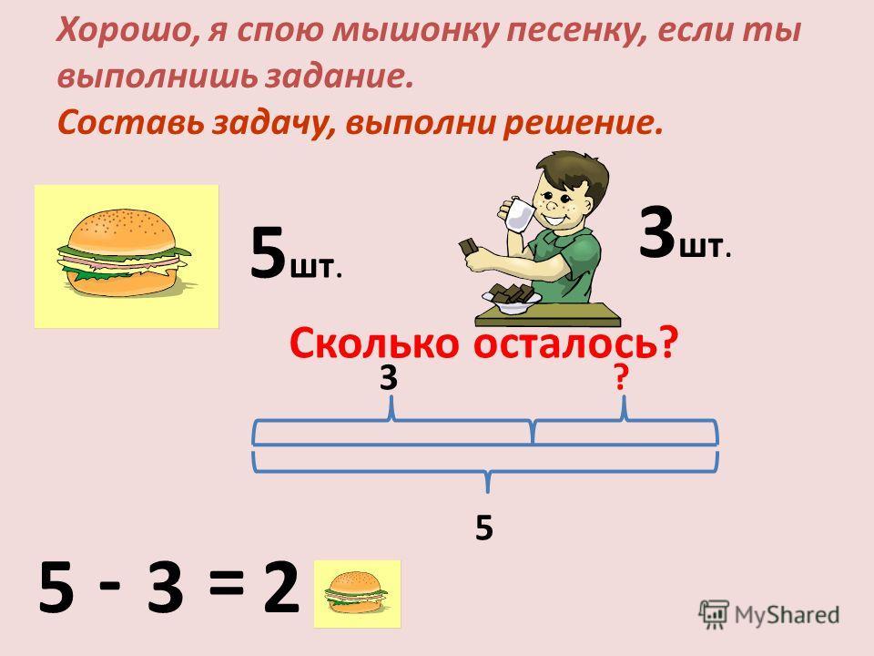 Хорошо, я спою мышонку песенку, если ты выполнишь задание. Составь задачу, выполни решение. 5 шт. Сколько осталось? 3 шт. 5 - 3 = 2 5 3?