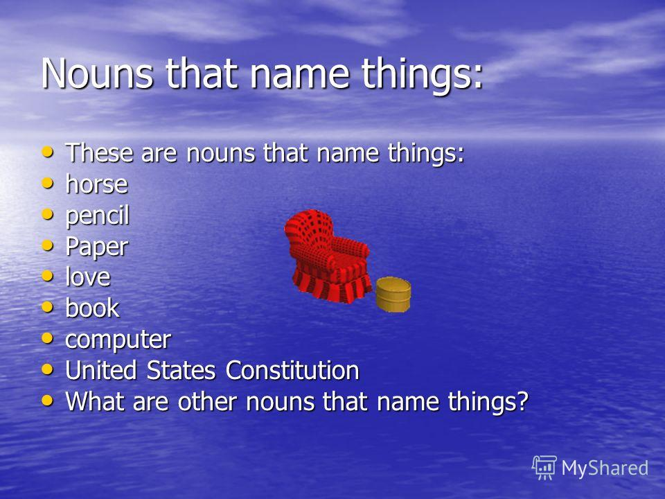 Nouns that name places: These nouns name places. These nouns name places. school school city city library library mall mall Knoxville Knoxville America America What other nouns name places? What other nouns name places?