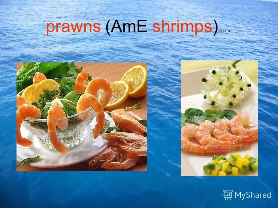 prawns (AmE shrimps) креветки