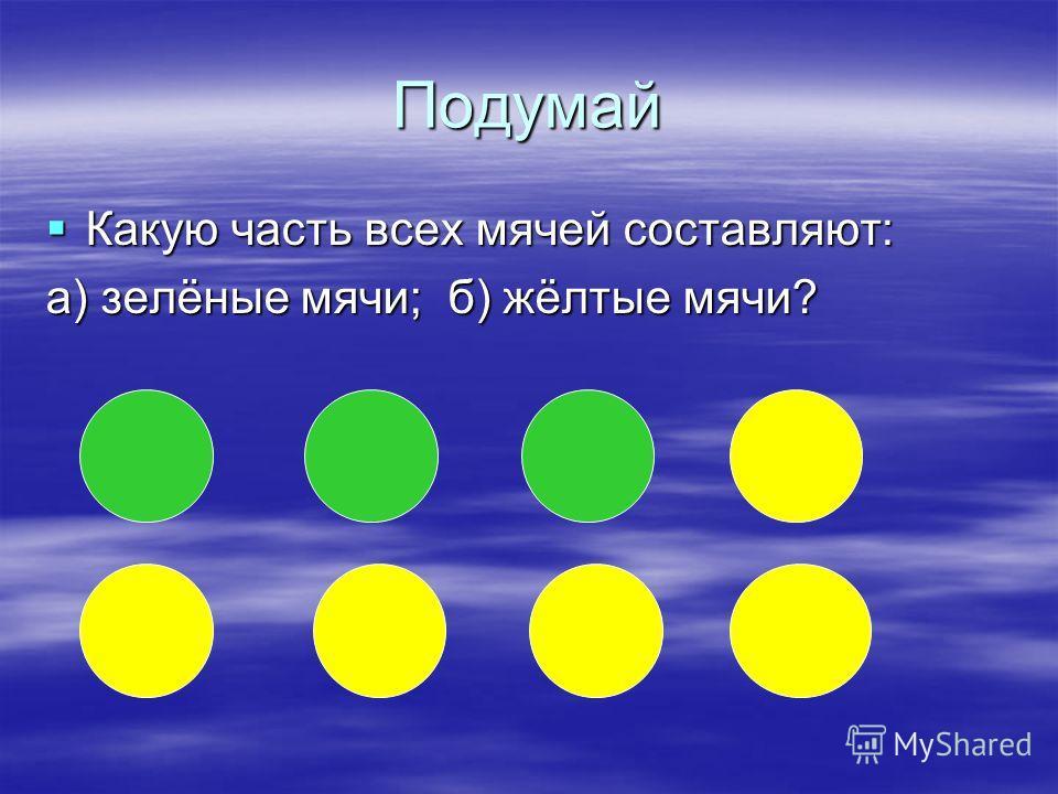 Подумай Какую часть всех мячей составляют: Какую часть всех мячей составляют: а) зелёные мячи; б) жёлтые мячи?