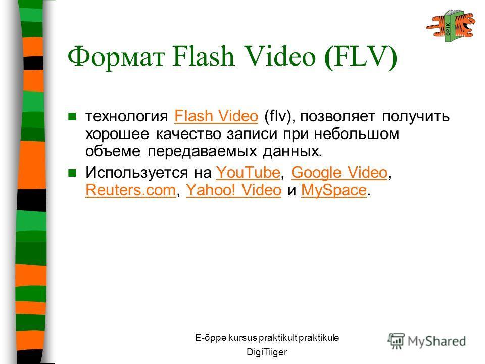 E-õppe kursus praktikult praktikule DigiTiiger Формат Flash Video (FLV) технология Flash Video (flv), позволяет получить хорошее качество записи при небольшом объеме передаваемых данных.Flash Video Используется на YouTube, Google Video, Reuters.com,