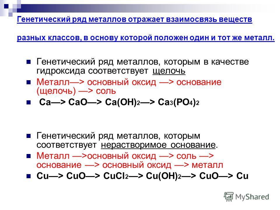 Генетический ряд неметаллов отражает взаимосвязь веществ разных классов, в основу которой положен один неметалл. Генетический ряд неметаллов, которым соответствует растворимая кислота неметалл > кислотный оксид > кислота > соль P > P 2 O 5 > H 3 PO 4