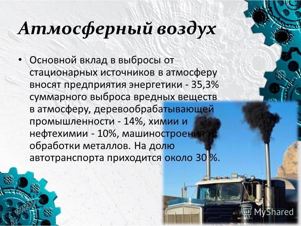 Атмосферный воздух Основной вклад в выбросы от стационарных источников в атмосферу вносят предприятия энергетики - 35,3% суммарного выброса вредных веществ в атмосферу, деревообрабатывающей промышленности - 14%, химии и нефтехимии - 10%, машиностроен