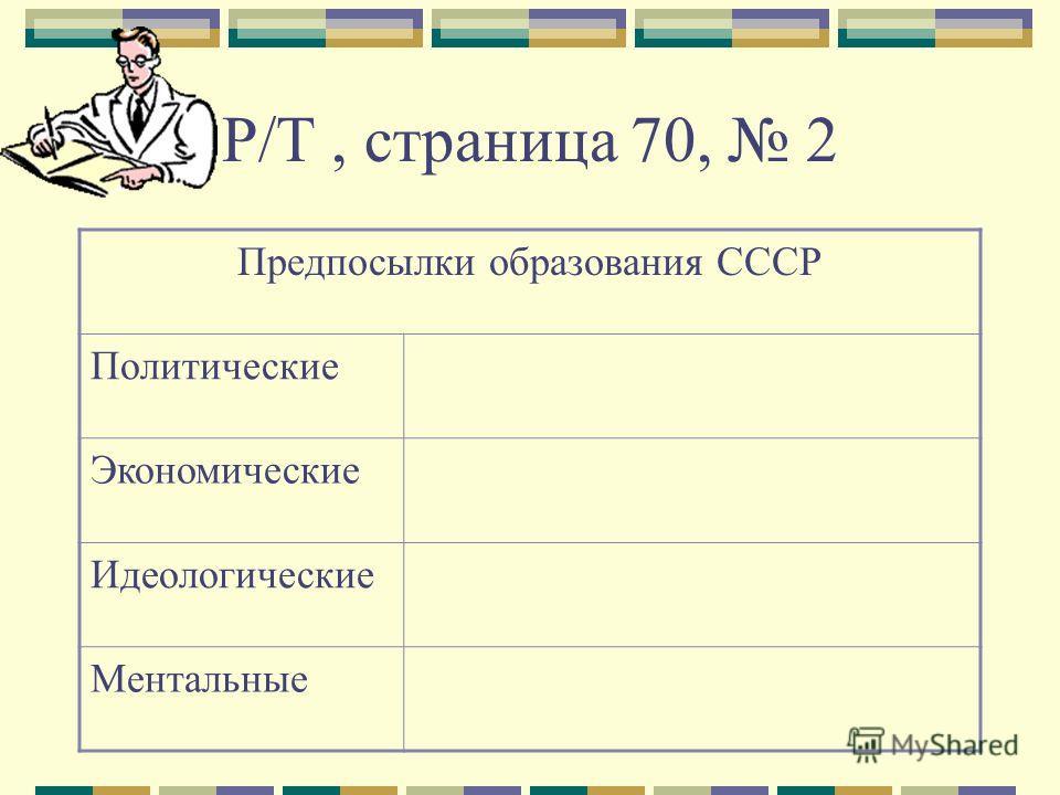 Р/Т, страница 70, 2 Предпосылки образования СССР Политические Экономические Идеологические Ментальные