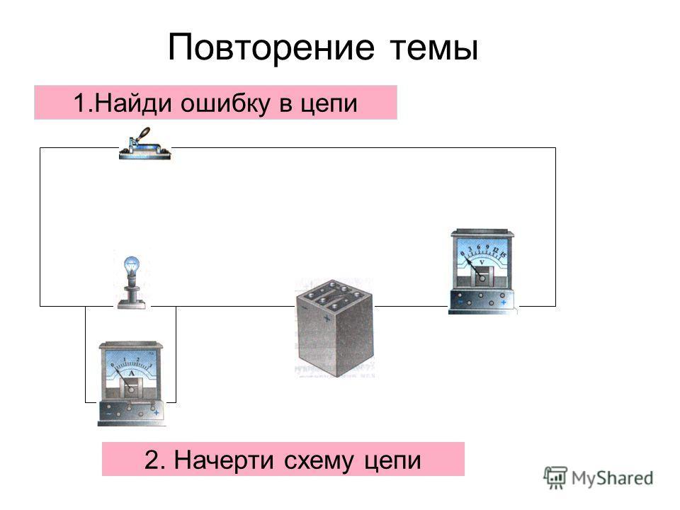 Повторение темы 1.Найди ошибку в цепи 2. Начерти схему цепи