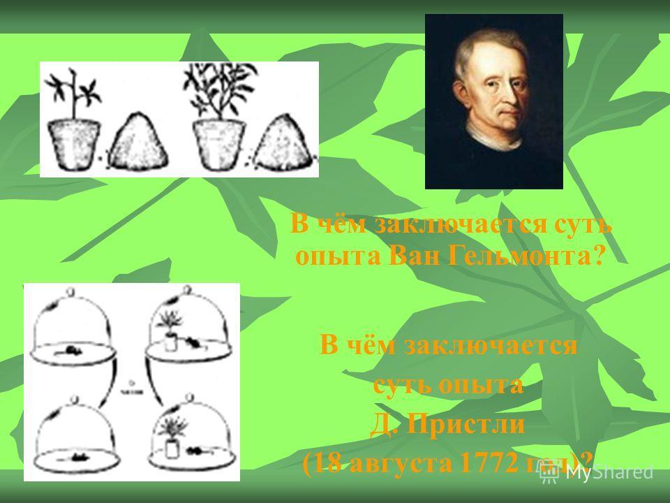 В чём заключается суть опыта Д. Пристли (18 августа 1772 год)? В чём заключается суть опыта Ван Гельмонта?