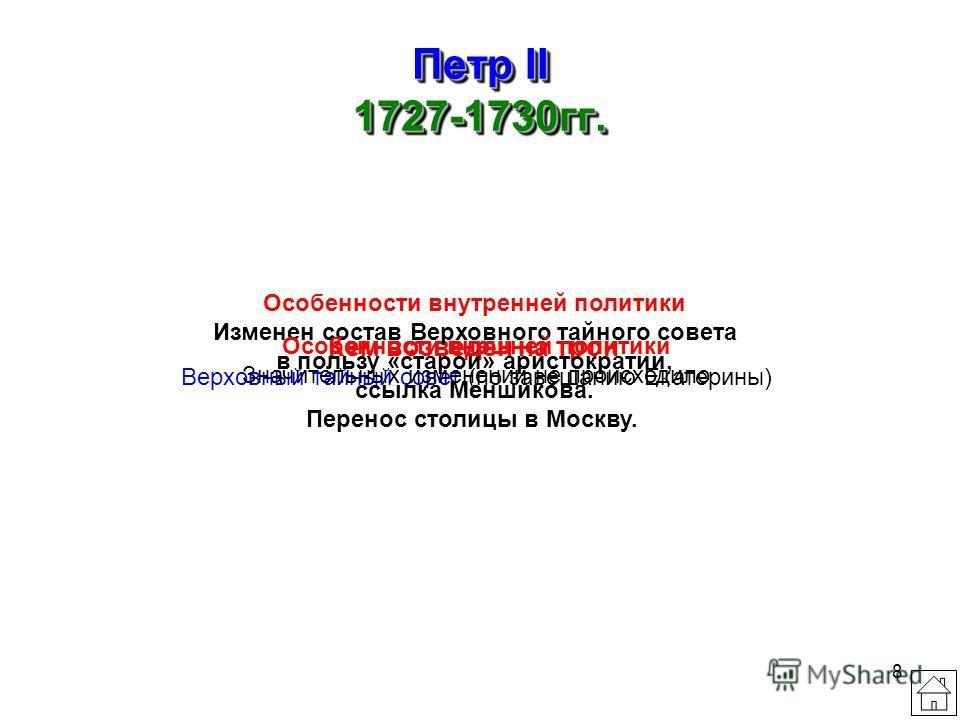 7 Екатерина I 1725-1727гг. Кем возведена на трон Меншиков А.Д. и другие соратники Петра I, гвардия Особенности внутренней политики В 1726г. создан Верховный тайный совет во главе с Меншиковым, он подчинил себе Сенат и три главные коллегии. Происходил