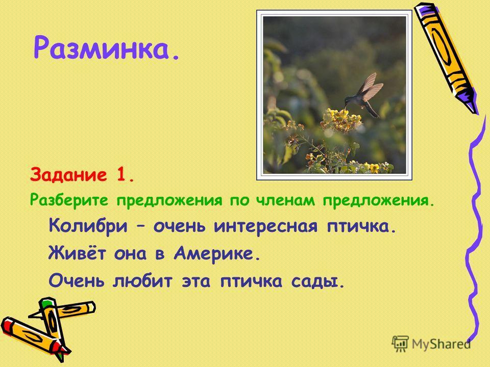 Разминка. Задание 1. Разберите предложения по членам предложения. Колибри – очень интересная птичка. Живёт она в Америке. Очень любит эта птичка сады.