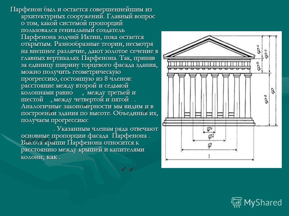 Парфенон был и остается совершеннейшим из архитектурных сооружений. Главный вопрос о том, какой системой пропорций пользовался гениальный создатель Парфенона зодчий Иктин, пока остается открытым. Разнообразные теории, несмотря на внешнее различие, да