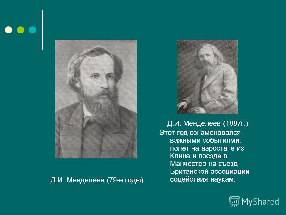 Д.И. Менделеев (79-е годы) Д.И. Менделеев (1887г.) Этот год ознаменовался важными событиями: полёт на аэростате из Клина и поезда в Манчестер на съезд Британской ассоциации содействия наукам.