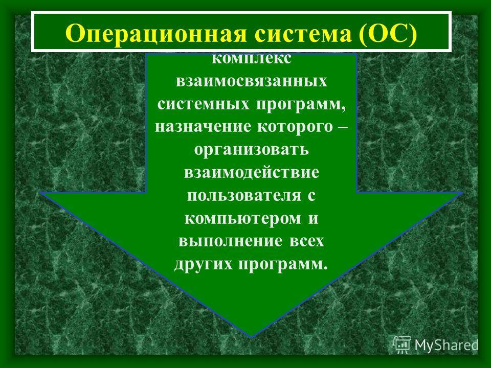 Операционная система (ОС) комплекс взаимосвязанных системных программ, назначение которого – организовать взаимодействие пользователя с компьютером и выполнение всех других программ.