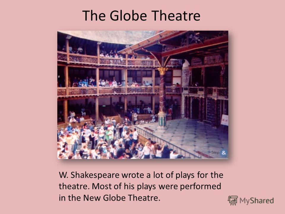 The Globe Theatre W. Shakespeare wrote a lot of plays for the theatre. Most of his plays were performed in the New Globe Theatre.