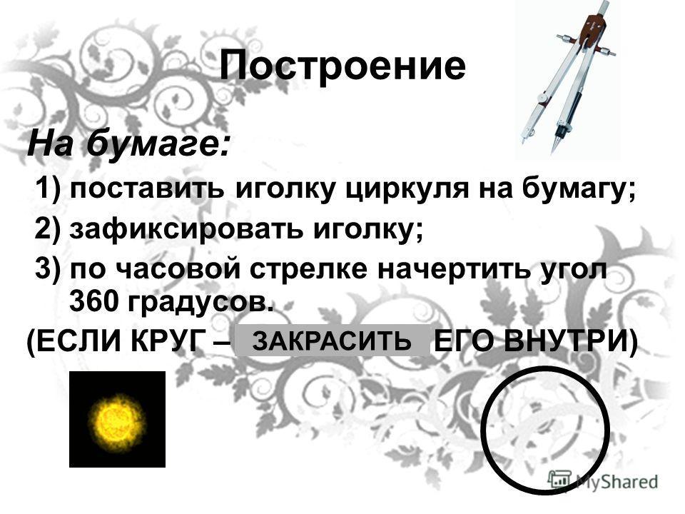 Построение На бумаге: 1) поставить иголку циркуля на бумагу; 2) зафиксировать иголку; 3) по часовой стрелке начертить угол 360 градусов. (ЕСЛИ КРУГ – ЗАКРАСИТЬ ЕГО ВНУТРИ) ЗАКРАСИТЬ