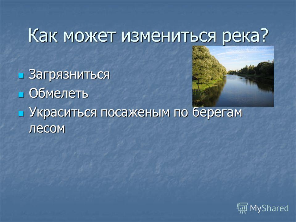 Как может измениться река? Загрязниться Загрязниться Обмелеть Обмелеть Украситься посаженым по берегам лесом Украситься посаженым по берегам лесом